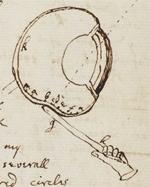 Nadel im Auge: Originalzeichnung aus Newtons Notizbuch